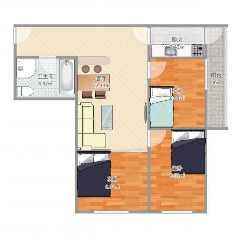 团结湖北五条3室1厅1卫1厨77.00㎡户型图