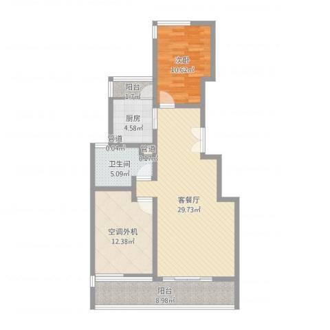 康桥半岛城中花园1室2厅1卫1厨92.00㎡户型图