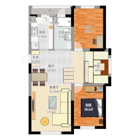 万龙台北明珠3室2厅3卫1厨88.00㎡户型图