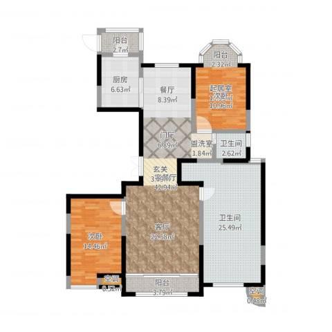 建邦华庭1室2厅2卫1厨141.00㎡户型图