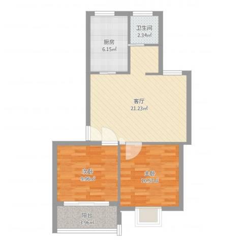 广厦怡庭2室1厅1卫1厨68.00㎡户型图