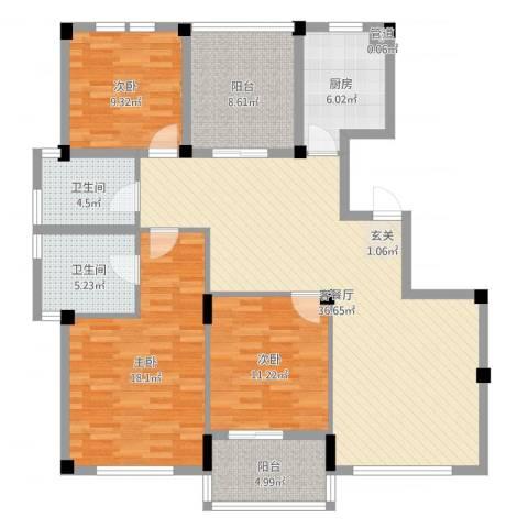 风格城事3室2厅2卫1厨131.00㎡户型图