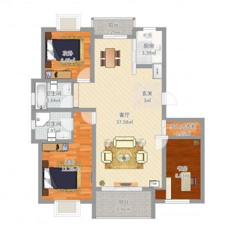 龙新家园3室1厅2卫1厨111.00㎡户型图