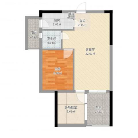 嘉誉蓝湾1室2厅1卫1厨67.00㎡户型图