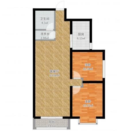 星湖国际花园2室2厅1卫1厨97.00㎡户型图