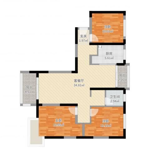 三湘森林海尚3室2厅1卫1厨105.00㎡户型图