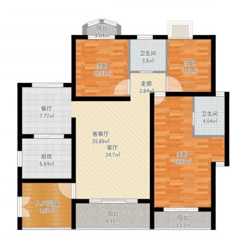 爱加丽都3室2厅2卫1厨133.00㎡户型图