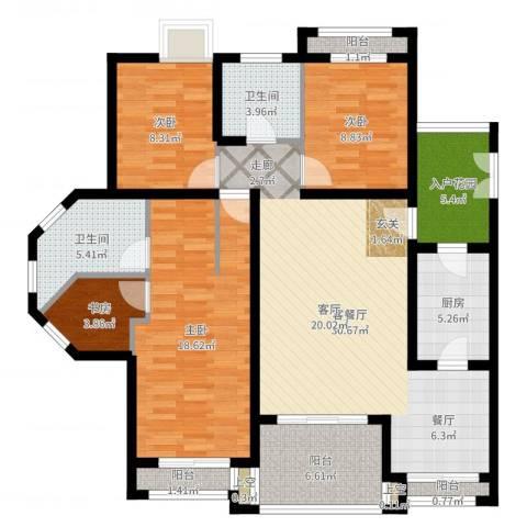 爱加丽都(一期)4室2厅2卫1厨126.00㎡户型图