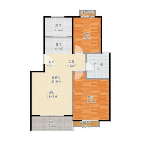金羚嘉和馨园二期2室2厅1卫1厨89.00㎡户型图