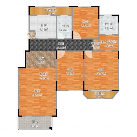 绿地泰晤士新城3室2厅2卫1厨153.00㎡户型图
