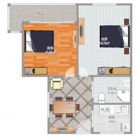 双菱新村2室1厅1卫1厨65.00㎡户型图
