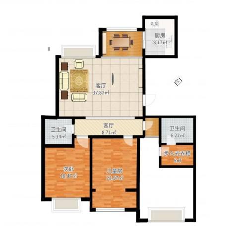 颐和庄园三期2室2厅2卫1厨154.00㎡户型图