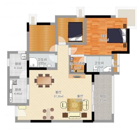 天邻风景1室1厅2卫2厨121.00㎡户型图