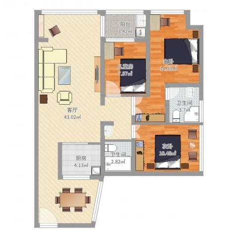 金地梅陇镇二期3室1厅2卫1厨112.00㎡户型图