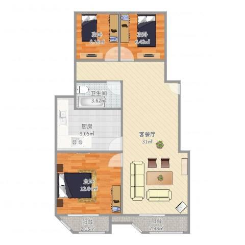 朗庭上郡苑-211-753室2厅1卫1厨93.00㎡户型图