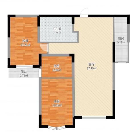 小平岛E组团3室1厅1卫1厨116.00㎡户型图