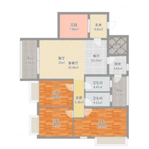 钜隆罗村风度花园3室2厅2卫1厨143.00㎡户型图