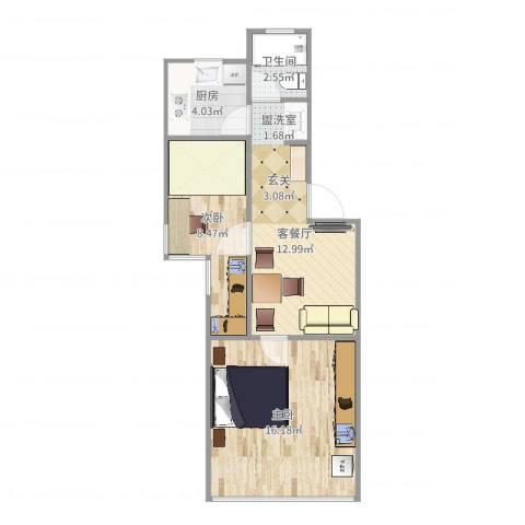 银宏新村2室2厅1卫1厨55.00㎡户型图