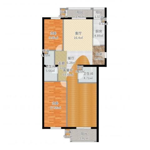 奥特锦鸿嘉苑2室2厅2卫1厨141.00㎡户型图