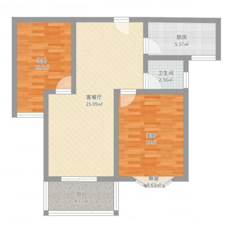 久新悦城2室2厅1卫1厨78.00㎡户型图