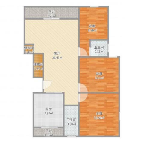 绿地蔷薇九里别墅3室1厅2卫1厨102.00㎡户型图