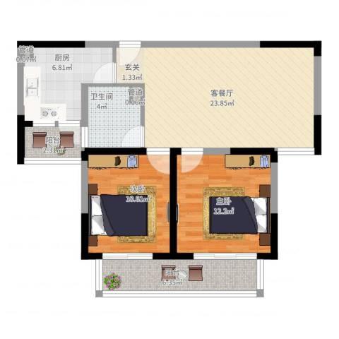古北新城酩悦1662室2厅1卫1厨96.00㎡户型图