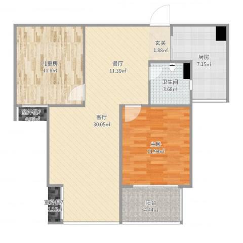 中环锦园2室1厅1卫1厨86.00㎡户型图