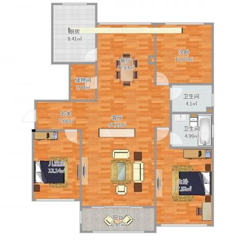 太湖锦园3室1厅2卫1厨157.00㎡户型图