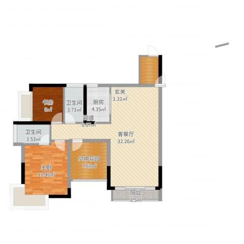 凯旋名门花园2室2厅2卫1厨94.00㎡户型图