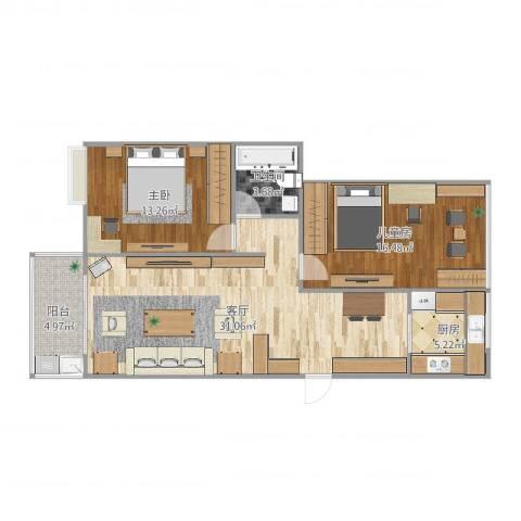 苏宁雅居2室1厅1卫1厨93.00㎡户型图