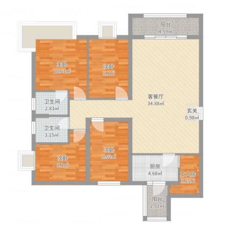 聚和广场4室2厅2卫1厨116.00㎡户型图