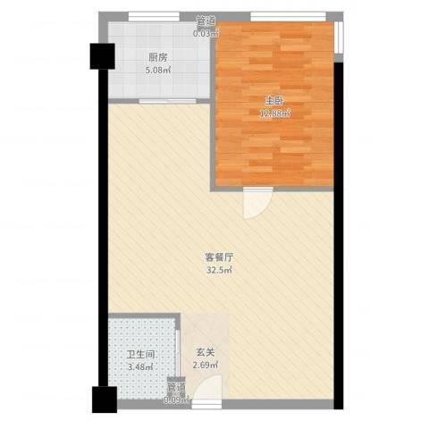 金色地带1室2厅1卫1厨68.00㎡户型图