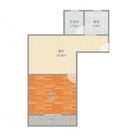 月浦七村1室1厅1卫1厨58.00㎡户型图