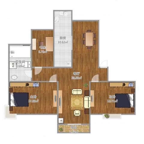 新月福邸3室1厅1卫1厨129.00㎡户型图