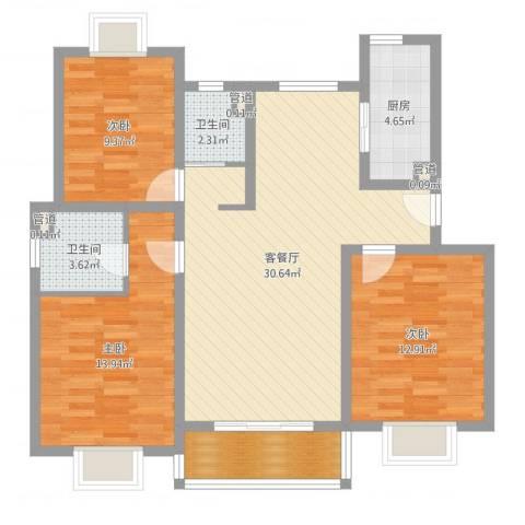 富浩河滨花园3室2厅2卫1厨103.00㎡户型图