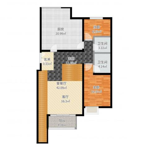 红杉一品・和廷2室2厅2卫1厨117.00㎡户型图