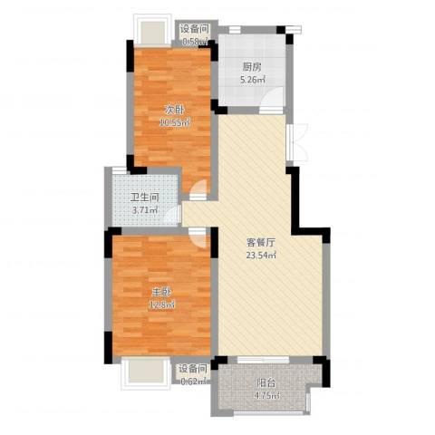 紫金上河苑2室2厅1卫1厨77.00㎡户型图