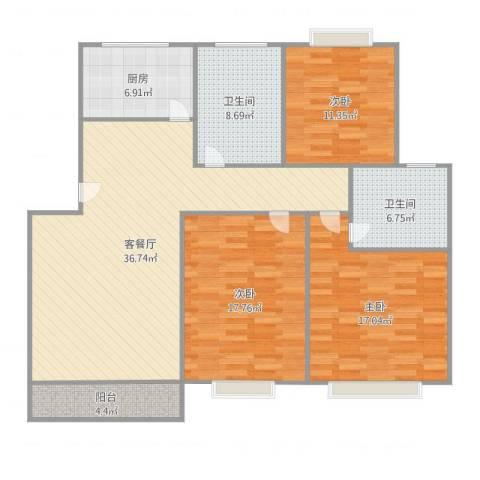 大宅风范城3室2厅2卫1厨137.00㎡户型图