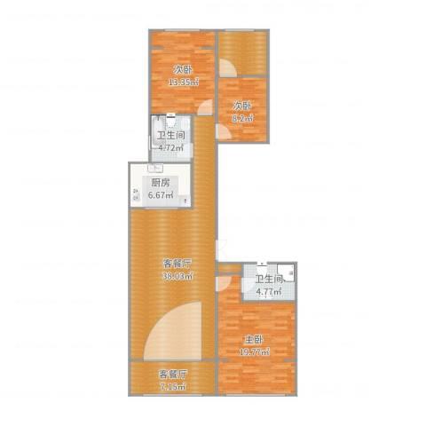 米兰花园3室4厅2卫1厨108.64㎡户型图