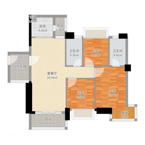 阳光海岸晶岸3室2厅2卫1厨105.00㎡户型图