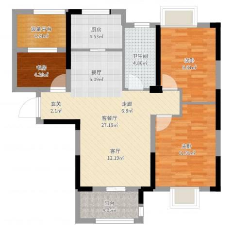 平安光谷春天3室2厅2卫1厨89.00㎡户型图