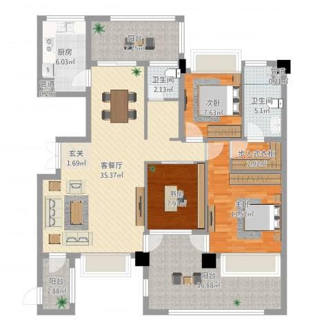 义乌荷塘月色3室2厅2卫1厨135.00㎡户型图