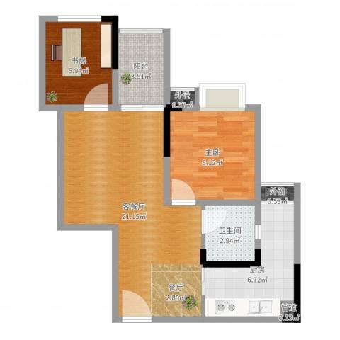 欣光松宿2室2厅1卫1厨62.00㎡户型图
