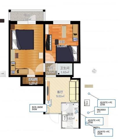 新源西里中街1室1厅1卫1厨62.00㎡户型图