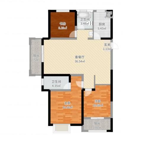 红豆人民路九号3室2厅2卫1厨117.00㎡户型图