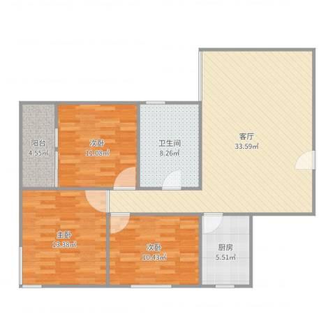 富和新城—4栋1单元6033室1厅1卫1厨108.00㎡户型图
