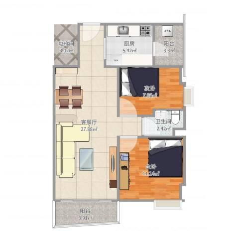 活力康城2室2厅1卫1厨78.00㎡户型图