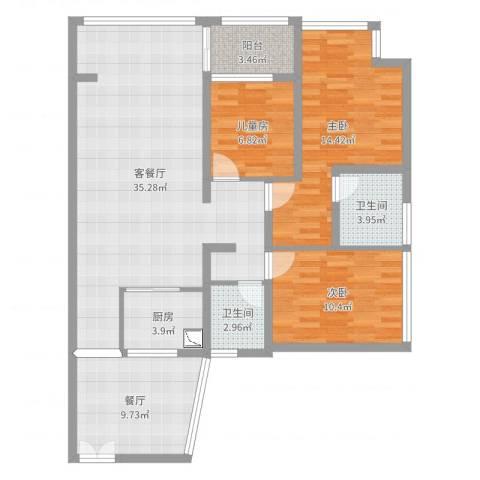 金地梅陇镇二期11栋15B3室3厅2卫1厨114.00㎡户型图