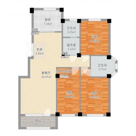 三鼎春天3室2厅2卫1厨121.00㎡户型图