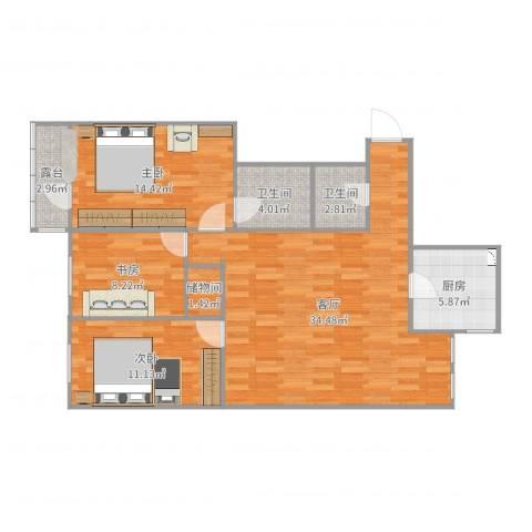 阜光里小区3室1厅2卫1厨114.00㎡户型图